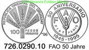 100 Pesos  1995 Uruguay *96 KM111 FAO 50 Jahre . 726.0290.10  PP  39,75 EUR  +  8,95 EUR shipping