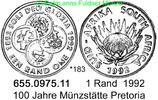 1 Rand 1992 South Africa Südafrika *183 Münzstätte Pretoria. unc  28,75 EUR  +  8,95 EUR shipping