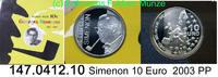 10 Euro Silber 2003 Belgien Georges Simenon . 147.0412.10    PP  23,00 EUR  +  8,95 EUR shipping