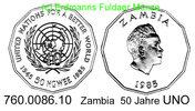 50 Ngwee 1985 Zambia Sambia . . *24a RAR UNO 50 Jahre . . . PP  120,00 EUR  +  8,95 EUR shipping