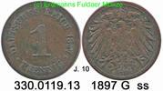 1 Pfennig 1897 G Deutschland, Kaiserreich J. 10 . 330.0119.13  ss  24,00 EUR  +  8,95 EUR shipping