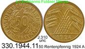 50 Rentenpfennig 1924 A Deutschland, Weimarer Rep. J.310 . 330.1944.11 ... 39,00 EUR  +  8,95 EUR shipping