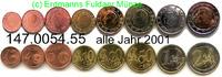3,88 Euro 2001 Belgien Kursmünzensatz lose . 147.0054.55    78,00 EUR