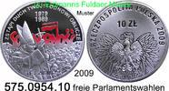 10 Zloty 2009 Polen Poland 10 Jahre erste freie Parlamentswahlen . 575.... 29,50 EUR  +  8,95 EUR shipping