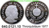 25 Rupees 1977 Seychellen *30a KM28a Thronjubiläum PP  24,75 EUR