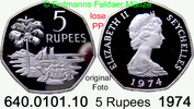 5 Rupees 1974 Seychellen *19a KM19a  Elisabth II. Pp lose  49,75 EUR  +  8,95 EUR shipping