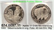 1969 Medaillen nach 1950  . 1.Mondlandung, Apollo 11 . 874.0097.11. PL  39,00 EUR