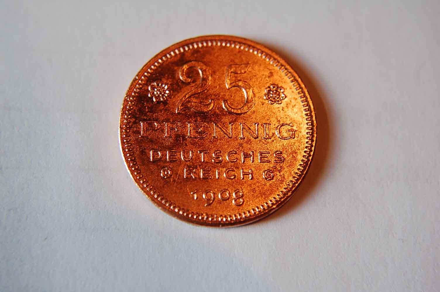 25 Pfennig 1908 Kaiserreich / 25 Pf. Probeprägung Probe 25Pf. J.18 in anderer Gestaltung der Vorder- und RS., Kupfer fast vz rauer Schrötling, aEF