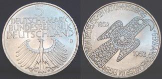 5 Mark Germanisches Museum 1952 D Bundesre...