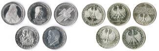 5 Mark die ersten fünf 1952,55,57, Bundesr...