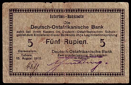 5 Mark 1922 Kolonien Deutsch Ostafrika 5 Rupien 1915 Interims Banknote mit ovalem Bankstempel !!! gebraucht