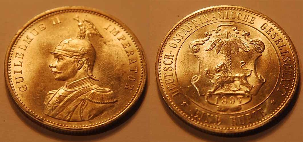 1 Rupie 1897 Kolonien Deutsch-Ostafrika Deutsch-Ostafrika 1 Rupie 1897 vz-st AU-UNC