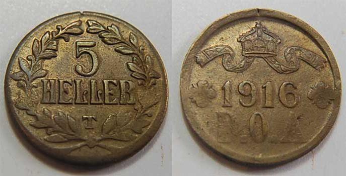 5 Heller 1916T Kolonien Deutsch-Ostafrika Deutsch-Ostafrika 5 Heller J.723a dick und modifizierter Stempel, vz 5,0 g modifizierter Stempel, EF