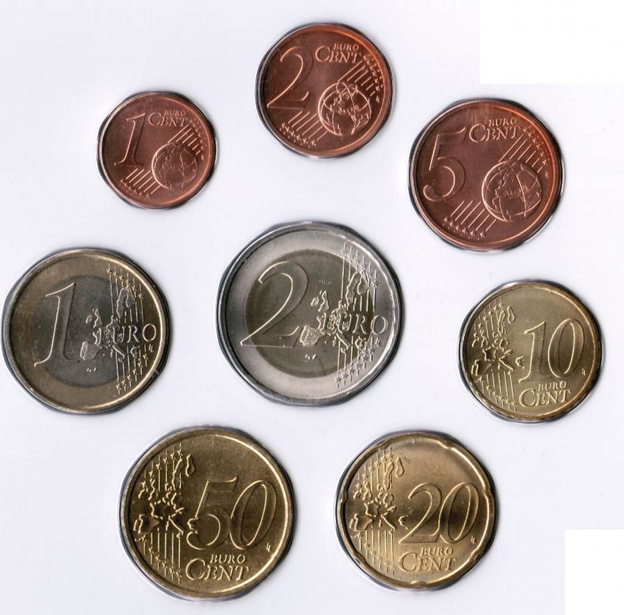 Euro and pennies