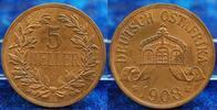 Kolonien Deutsch-Ostafrika 5 Heller Deutsch-Ostafrika 5 Heller 1908J (b) schöne Kupferpatina, vz