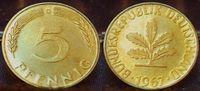 5 Pfennig 1967 G Deutschland BRD 5 Pfennig 1967G, seltenes Jahr und Mün... 50,00 EUR