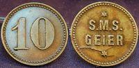 10 Pf. Wertmarke Schiffsgeld SMS Geier ca. 1895 Kolonien / China / Bras... 675,00 EUR