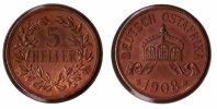 Kolonien Deutsch-Ostafrika 5 Heller Deutsch-Ostafrika 5 Heller 1908J schöne Kupferpatina, vz