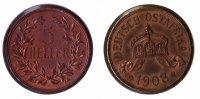 Kolonien Deutsch-Ostafrika 5 Heller Deutsch-Ostafrika 5 Heller 1908J schöne Kupferpatina, vz+