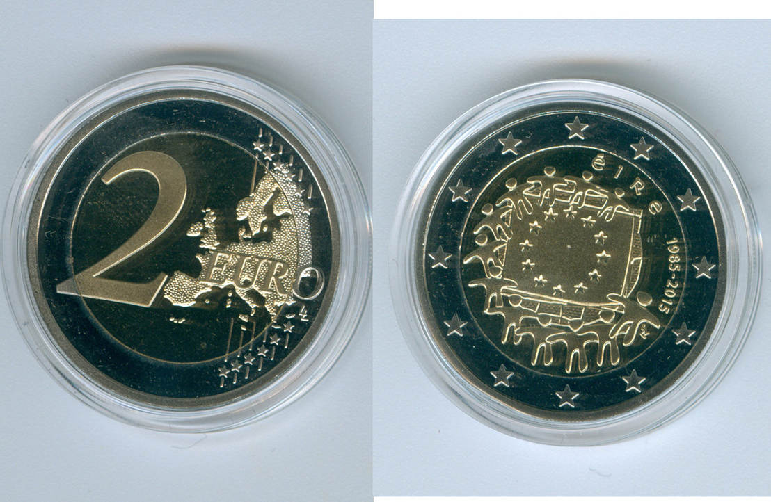 2 euro 2015 irland 30 jahre eu flagge nur st ck proof coin coins and medals. Black Bedroom Furniture Sets. Home Design Ideas