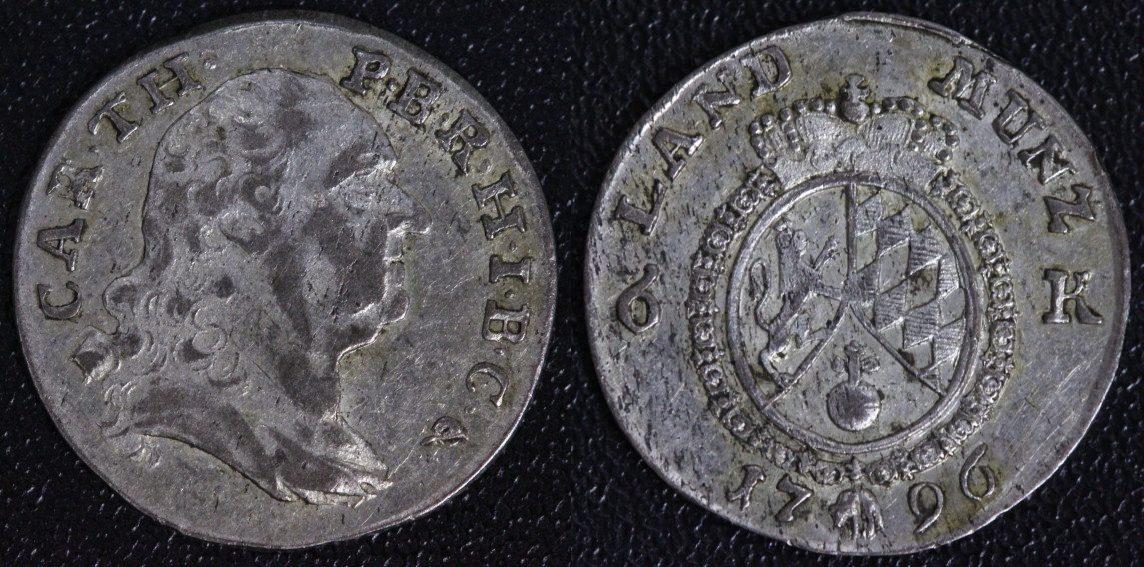6 Kreuzer 1796 Bayern Karl Theodor ss+