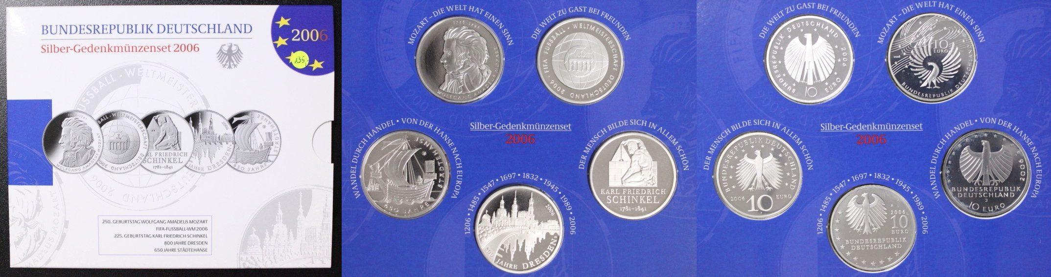 Satz 5x 10 Euro 2006 BRD Deutschland - Die 10 Euro-Gedenkmünzen des Jahres 2006 - Silber Proof / OVP
