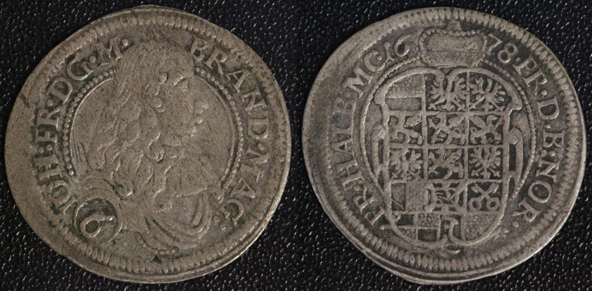 6 Kreuzer 1678 Brandenburg-Ansbach Johann Friedrich F-VF