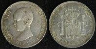 5 Pesetas 1891 Spanien, Königreich Alfonso XIII. - Madrid vz/min.Kr.  95,00 EUR  +  10,00 EUR shipping
