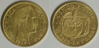 5 Pesos 1924 B Kolumbien Republik f.vz  370,00 EUR  +  10,00 EUR shipping
