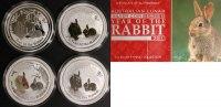 Typeset 2011 Australien Typeset- 4x 1 Oz Ag - Jahr des Hasen Lunar II st  330,00 EUR  +  10,00 EUR shipping