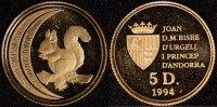 5 Diners 1994 Andorra 5 Diner- Eichhörnchen   75,00 EUR
