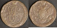 5 Kopeken 1790 EM Russland Katharina II. -St. Petersburg  s-ss, Rf.  30,00 EUR  +  10,00 EUR shipping