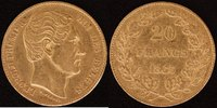 20 Francs 1865 Belgien Leopold I. (1830-65) ss  250,00 EUR