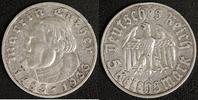 5 Mark 1933 A 3. Reich Martin Luther ss, Randfehler  50,00 EUR  +  10,00 EUR shipping