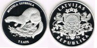 Lettland 1 Lats latvia, 1 lats 1999, european mink, Proof, in capsule