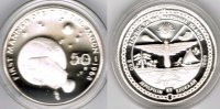 "Marshallinseln 50 Dollars Marshall Islands, silver coin ""first manned orbit of the moon 1968"", p"