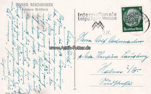 1937 Drittes Reich Ansichtskarte/Postkarte/Unser Reichsheer/Schwere Artillerie 2
