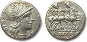 AR denarius 136 B.C. ROMAN REPUBLIC Cn. Lu...