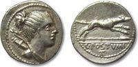ROMAN REPUBLIC AR denarius 74 B.C. VF+ great coin C. Postumius, Rome 276,00 EUR  plus 8,50 EUR verzending