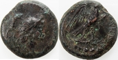 ae/Quincunx(5 ONCE) 250-210 BC  Calabria, Calabrie Orra 208-202 BC vf brown patina