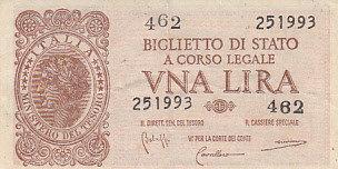 1 Lira 1944 VF Italy ITALY P.29b - 1944 VF