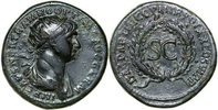 Roman Empire DECEMBER SALES DISCOUNT!! TRAJANUS, Æ-AS, Rome/WREATH