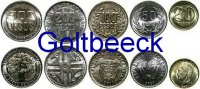 COLOMBIA    Set of 5 coins 2003/08, 20, 50, 100, 200, 500 Peso UNC 7,00 EUR 