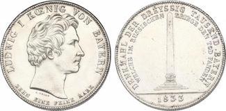 Geschichtstaler 1833 Deutschland - Bayern Ludwig I. (1825 - 1848)  Dreyssig Tausend Bayern  f.stgl.