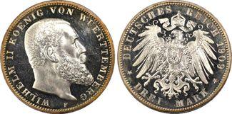 3 RM 1909-F Kaiserreich0, Württemberg Köni...