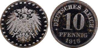 10 Pfennig 1916-E Deutsches Reich Ersatzmü...