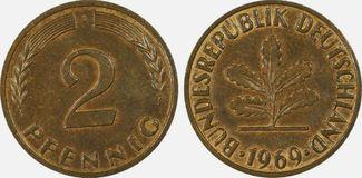 2 Pfg 1969-J Bundesrepublik Fehlprägung in...