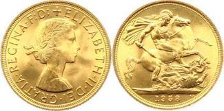 Sovereign Gold 1958 Großbritannien Elisabe...