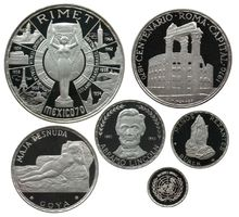 600 Pesetas 1970 Äquatorial Guinea Ag KM6+7+10.1+13.5+15+18.1,Original Etui, Schön 5,7,9,12,15,18 pp