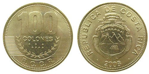 100 colones 2006 costa rica ms   unc moneda